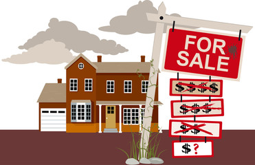 Sale sign with reduced price tags in front of a house, EPS 8 vector illustration