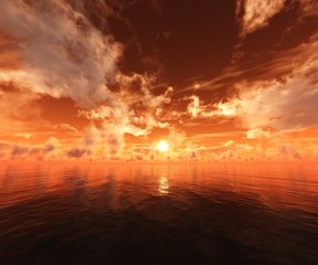 beautiful sunset at the sea, sunrise in the ocean, sky and water