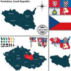 Map of Pardubice, Czech Republic