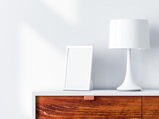 White poster or photo frame Mockup on bureau with desk lamp. 3d rendering
