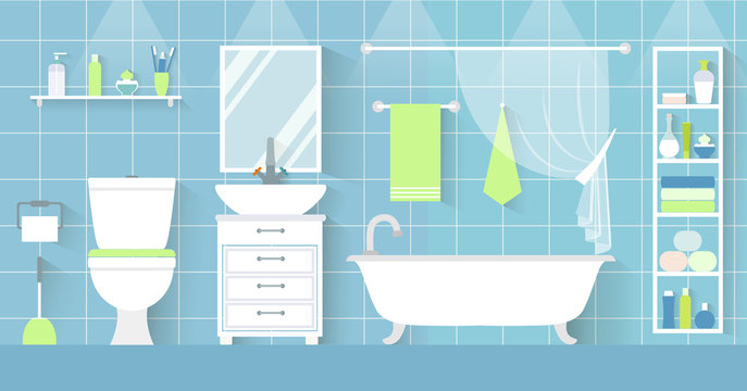 Vector interior of a bathroom in a flat style. Toilet with furniture and plumbing.
