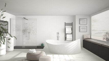 Modern classic bathroom with big round carpet, large panoramic window, minimalistic white and gray interior design