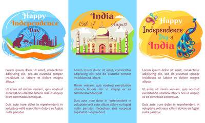 Happy Independence Day Placards with Big Text