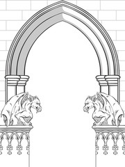 Gothic arch with gargoyles hand drawn vector illustration. Frame or print design