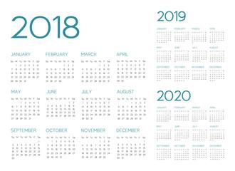 English Calendar 2018-2019-2020 vector