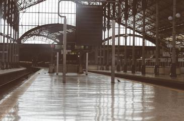 Empty train station terminal in Lisbon, Portugal.