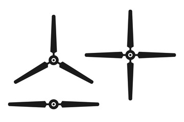 Wind turbine, propeller icon set, black isolated on white background, vector illustration. Wall mural