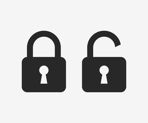 Lock icon, black isolated on grey background, vector illustration.