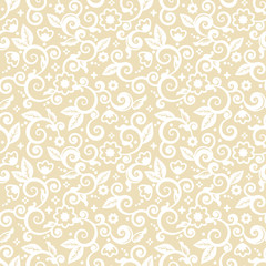 Seamless (you see 4 tiles) elegant white on pale gold abstract floral pattern, print, wallpaper, swatch, texture or background