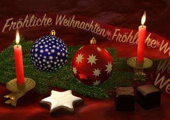 Weihnachtliches Stilleben mit Kerzen und Weihnachtsgruß
