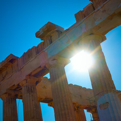 Sunlight through ancient columns