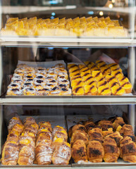 Portuguese traditional pastries. Buns with custard.