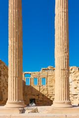 Columns of The Erechtheion temple in Acropolis