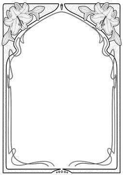 Rectangular decorative frame with art Nouveau ornament.