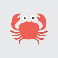 Funny cartoon crab on white background