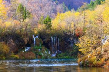 Plitvice lakes, World famous National park in Croatia, UNESCO heritage, waterfalls in autumn