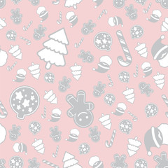 Background vector seamless pattern Christmas theme ..white gray and pink color