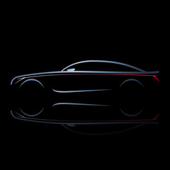 Silhouette of car with burning lights on a black background. Side view. Vector illustration.