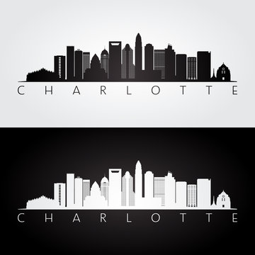Charlotte usa skyline and landmarks silhouette, black and white design, vector illustration.