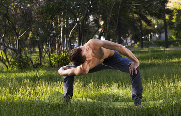 young strong man is engaged in yoga and gymnastics in the park, morning exercises,