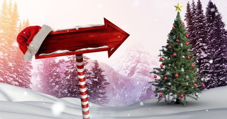Wooden signpost in Christmas Winter landscape and Santa hat with