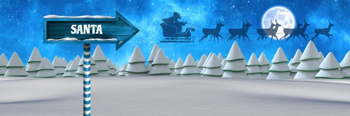 Santa text on Wooden signpost in Christmas Winter landscape and