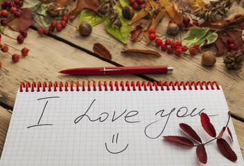 notepad on the spring and pens,  wooden countertop, autumn still-life,  note I love you