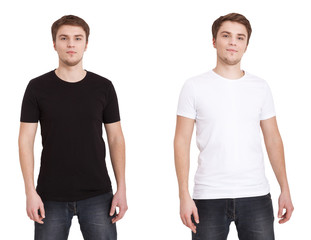 Close up of man in blank black and white t-shirt isolated on white. Mock up