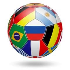 Ballon de Football. Différents drapeaux