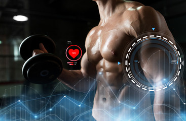 close up of man with dumbbells exercising in gym
