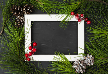 Winter decoration card with frame