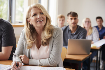Mature Woman In College Attending Adult Education Class Wall mural