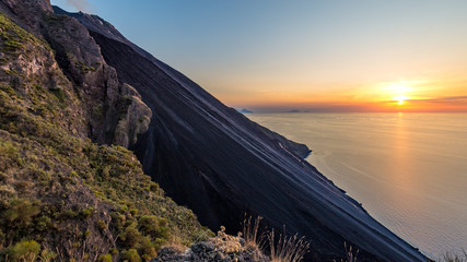 Sciara del Fuoco at sunset, Stromboli, Italy.