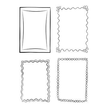 Black and White Outlined Frames Illustrations Set