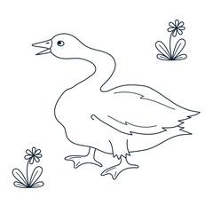 Goose farm bird linecharacter vector illustration