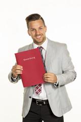 man with application folder