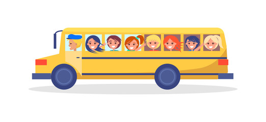 Yellow Trip Bus with Kids Going on Excursion