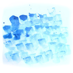 blue brush strokes watercolor Hand painted abstract stain for textures.