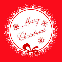 Christmas card with round frame, red and white snowflakes, red background, congratulatory text