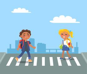 Kids Crossing Street on Pedestrian in Urban City