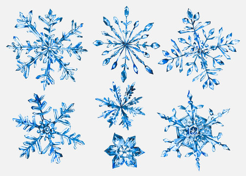 Watercolor winter collection of snowflakes