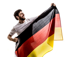 German male athlete / fan celebrating on white background
