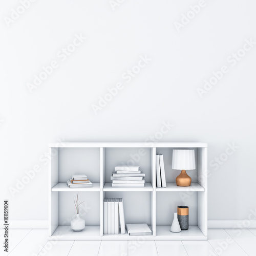 White Room With Bookshelf Wall Mockup 3d Rendering