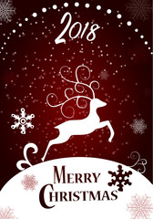 Merry christmas. Happy New Year. Deer in a winter Christmas background  with snow. paper art and craft style. Typographical Background With Christmas Elements.