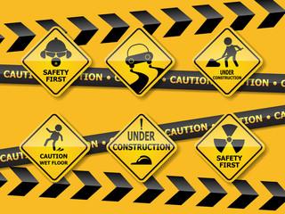 set of warning caution sign