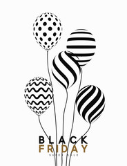 Black Friday, design sale banner, poster advert. Background white, pattern air balloon. Typography graphic, vector illustration