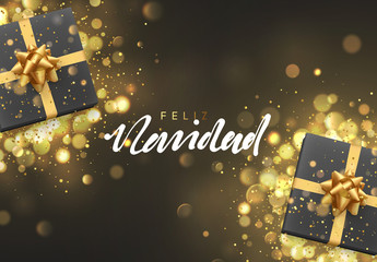 Spanish Feliz Navidad. Christmas background with gift box and golden lights bokeh. Xmas greeting card. Magic holiday poster, banner. Night bright gold light background