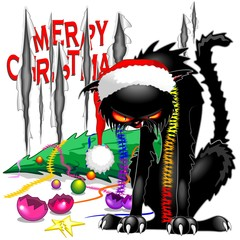 Printed roller blinds Draw Evil Black Cat Broken Christmas Tree