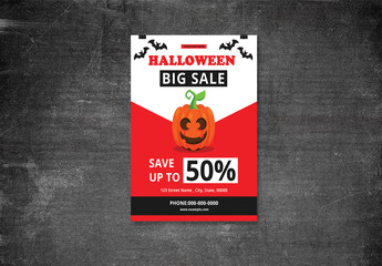 Halloween Sales Flyer with Red Accents