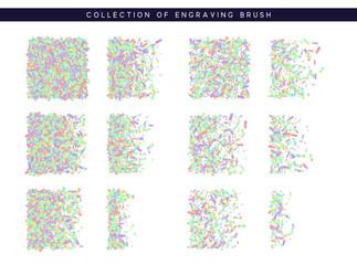 Set of brush stipple hologram pattern for design.